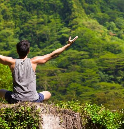 Man meditating in nature