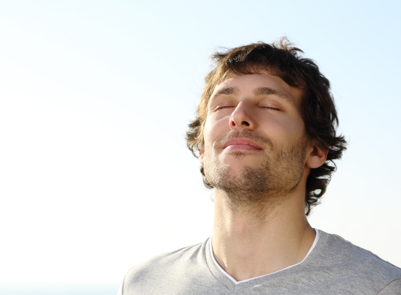 Man relaxed and happy